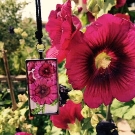 Hollyhock Large Pendant with Holly Hock